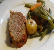 Meatloaf Potatoes and Green Beans